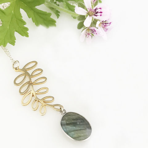 'Pearl,Wonder',-,labradorite,necklace,with,gold,plated,silver,leaf,silver jewellery, contemporary jewellery, necklace, pendant, labradorite pendant, gold leaf, handmade jewellery