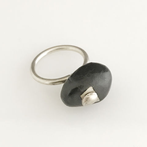 'Special,Offer',-,Black,porcelain,stone,shaped,silver,ring,silver jewellery, contemporary jewellery, ring, porcelain ring, porcelain ring and silver ring band, handmade jewellery, porcelain jewellery