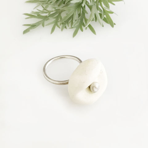 'Special,Offer',-,White,porcelain,stone,shaped,silver,ring,silver jewellery, contemporary jewellery, ring, porcelain ring, porcelain ring and silver ring band, handmade jewellery, porcelain jewellery