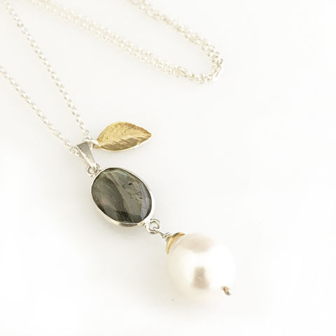 'Pearl,Wonder',-,labradorite,with,pearl,necklace,gold,leaf,silver jewellery, contemporary jewellery, necklace, pendant, fresh water pearl pendan, labradorite