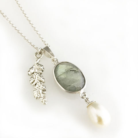 'Pearl,Wonder',-,labradorite,with,pearl,and,silver,leaf,necklace,silver jewellery, contemporary jewellery, necklace, pendant, fresh water pearl pendant, labradorite pendant