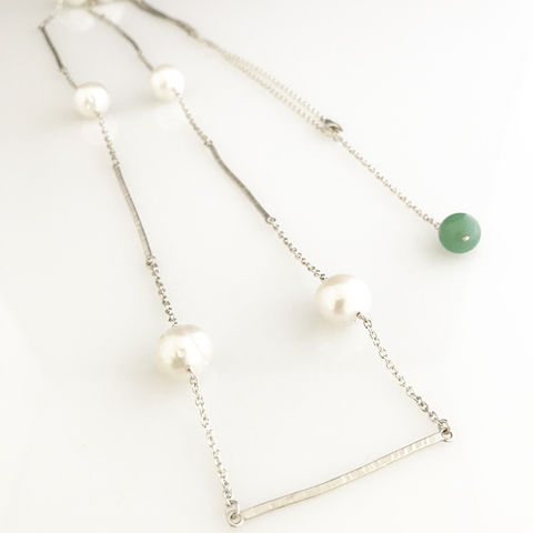 'Pearl,Wonder',-,long,silver,bar,necklace,with,pearls,and,green,jade,bead,silver jewellery, contemporary jewellery, pearl necklace, fresh water pearl long necklace, pearl and jade necklace, silver bar and pearl necklace, green jade