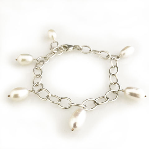 'Pearl,Wonder',-,Silver,bracelet,with,6,pearls,silver jewellery, contemporary jewellery, bracelet, pearl bracelet
