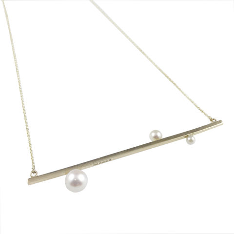 'Gem,Amour',-,yellow,gold,bar,necklace,with,Japanese,Akoya,pearls,9ct yellow gold handcrafted jewellery, Japanese akoya pearl gold necklace