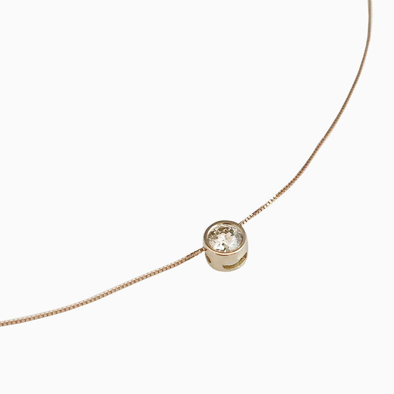 'Gem Amour' - Rose gold chain with movable brown diamond - product images  of