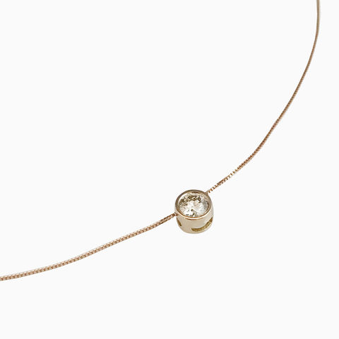 'Gem,Amour',-,Rose,gold,chain,with,movable,brown,diamond,18ct rose gold necklace, handmade in UK, contemporary brown diamond pendant, bridal jewellery, wedding gift, round brown diamond movable pendant