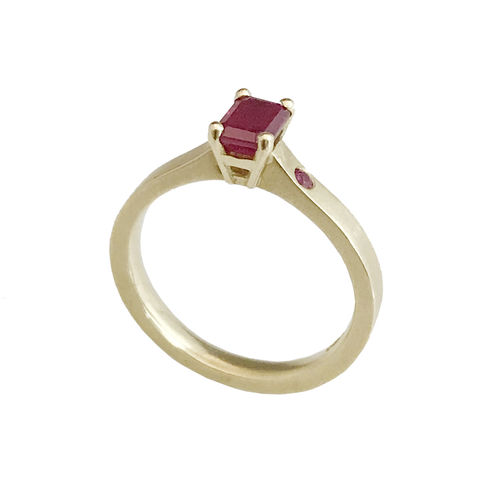 'Gem,Amour',-,gold,ring,with,ruby,bridal jewellery, wedding, ring, contemporary, ruby, emerald cut ruby