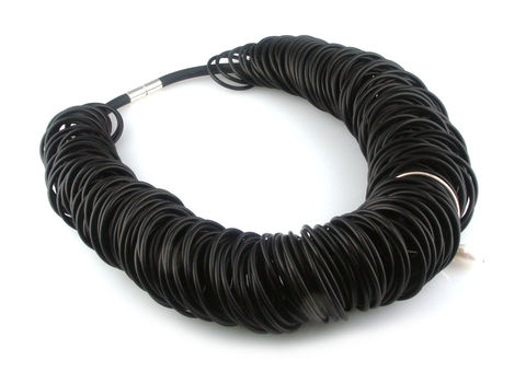 Black,rubber,necklace,with,silver,ring,and,pearl,rubber jewellery, silver jewellery, contemporary jewellery, necklace,