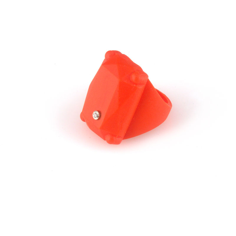 Orange colour rubber ring with diamond - product images  of