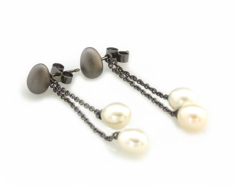 'Best Before' - black silver egg earrings with pearls - product images  of