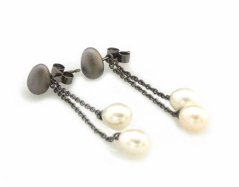 'Best,Before',-,black,silver,egg,earrings,with,pearls,silver jewellery, contemporary jewellery, earrings, pearls, egg earrings and pearls, egg earrings