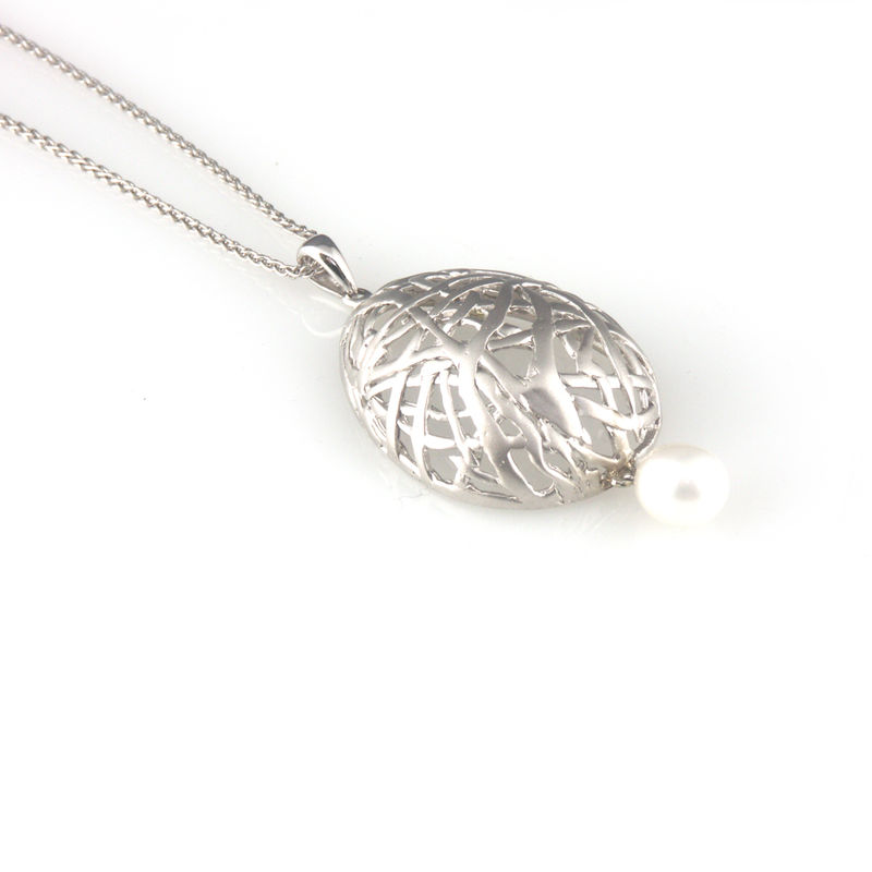 'Best Before' - 3cm silver egg necklace with pearls - product images  of