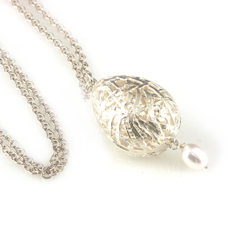 'Best Before' - 3cm silver whole egg pendant with pearl - product images  of