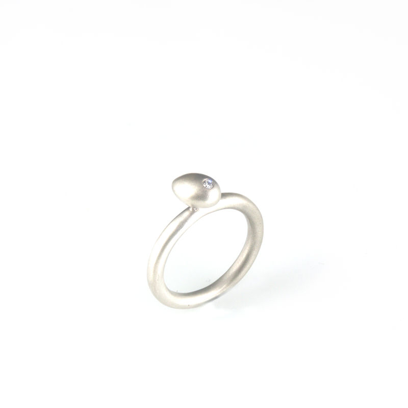 'Best Before' - 0.8cm silver whole egg ring with diamond - product images  of