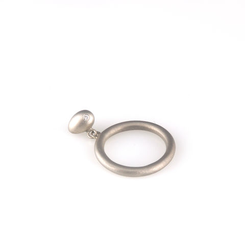 'Best,Before',-,0.8cm,matt,silver,movable,whole,egg,ring,with,diamond,silver jewellery, contemporary jewellery, necklace, pendant, diamonds, egg ring, silver egg ring