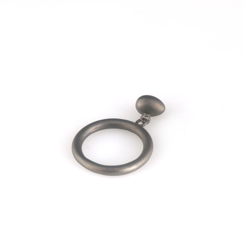 'Best Before' - 0.8cm matt black silver movable whole egg ring - product images  of
