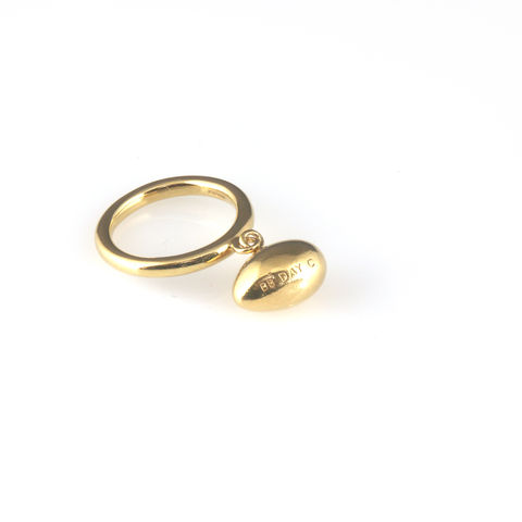 'Best,Before',-,1.5cm,gold,egg,ring,with,diamond,silver jewellery, contemporary jewellery, ring, diamonds, gold egg ring,  silver egg ring