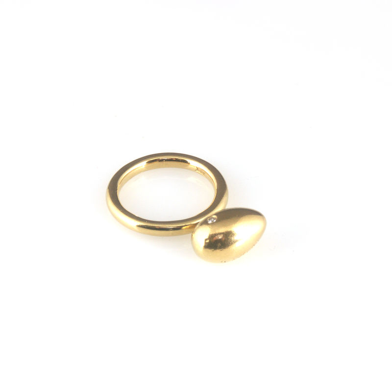 'Best Before' - 1.5cm gold egg ring with diamond - product images  of
