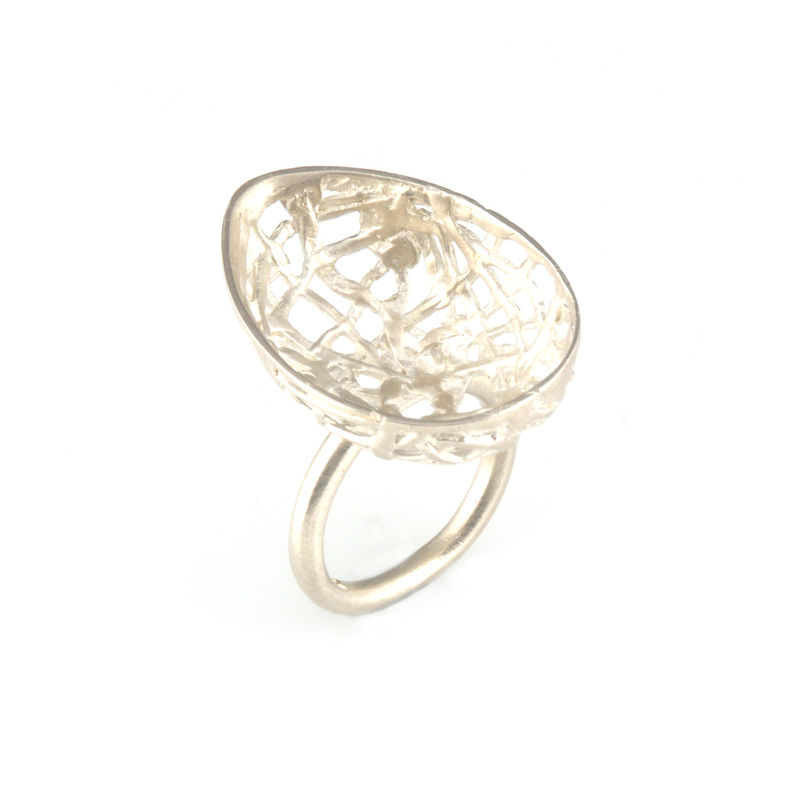 'Best Before' - 3cm matt silver egg ring - product images  of