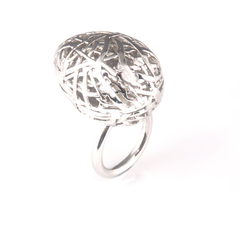 'Best Before' - 3cm silver whole egg ring with pearl inside - product images  of