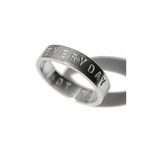 'Every,day,is,a,good,day',-,5mm,silver,ring,with,wording,'every,silver jewellery, contemporary jewellery, ring