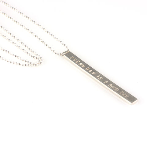 'Every,day,is,a,good,day',-,5mm,silver,pendant,with,wording,'every,silver jewellery, contemporary jewellery, necklace, pendant