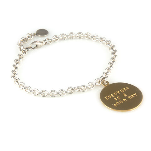 'Every,day,is,a,good,day',-,silver,bracelet,with,gold,disc,silver jewellery, contemporary jewellery, bracelet