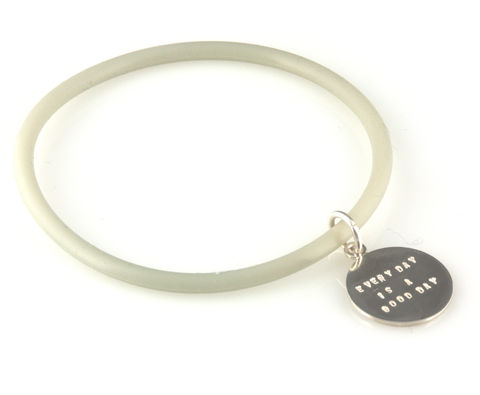 'Every,day,is,a,good,day',-,silicon,rubber,bangle,with,silver,disc,silver jewellery, contemporary jewellery, bracelet, bangle, rubber