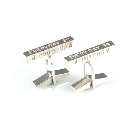 'Every,day,is,a,good,day',-,silver,cufflinks,with,words,silver jewellery, contemporary jewellery, cufflinks