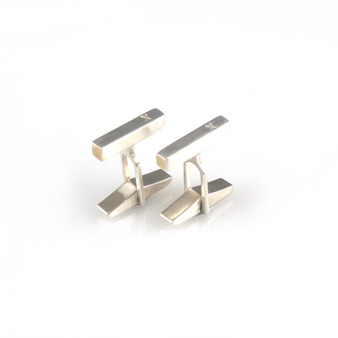 'X,collection',-,silver,cufflinks,with,words,'X',silver jewellery, contemporary jewellery, cufflinks