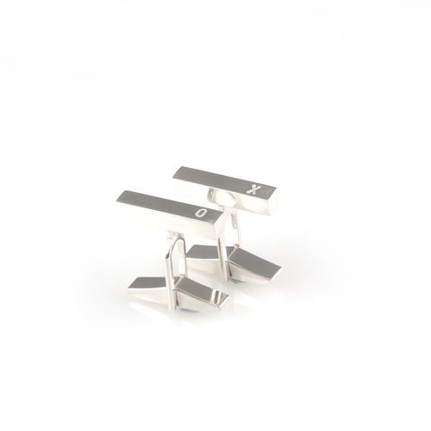 'X,collection',-,silver,cufflinks,with,words,'XO',silver jewellery, contemporary jewellery, cufflinks