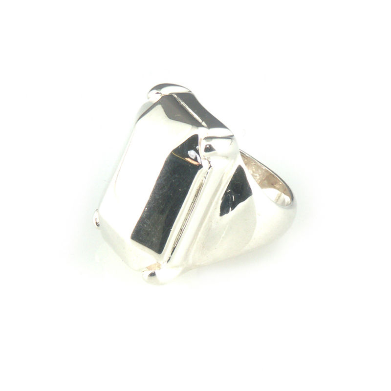 'Daimond Temptation' - big silver emerald cut diamond shaped ring - product images  of