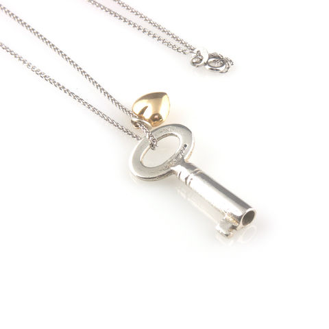 'Key,to,your,heart',-,silver,key,and,a,gold,heart,necklace,silver jewellery, contemporary jewellery, necklace, pendant