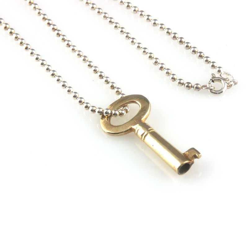 'Key to your heart' - gold plated silver key necklace - product images  of
