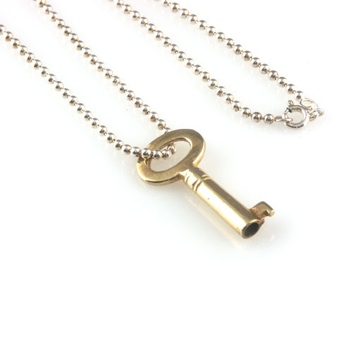 'Key,to,your,heart',-,gold,plated,silver,key,necklace,silver jewellery, contemporary jewellery, necklace, pendant