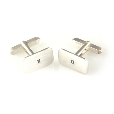 'X,collection',-,silver,cufflinks,with,words,'X',and,'O',silver jewellery, contemporary jewellery, cufflinks