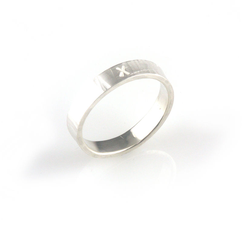 'X collection' - silver ring with word 'X' - product images  of