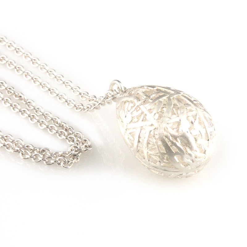 'Best Before' - 3cm silver whole egg pendant - product images  of