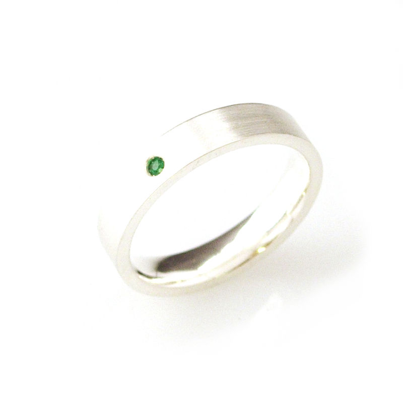 'Bridal & Bespoke' - Silver ring bands with emeralds - product images  of