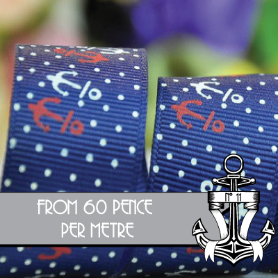 ANCHOR,&,POLKA,DOTS,RIBBON:,25mm/1,wide,Anchors & Polka Dots RIBBON SIZE 1 INCH