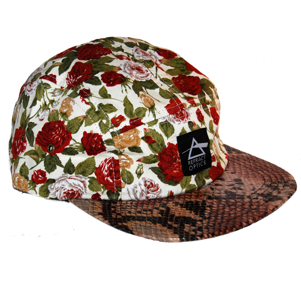 70% OFF Ltd Ed. Refract Optics 5 Panel Cap - Snake & Roses Cream - product image
