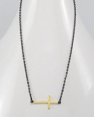 Sterling Silver Two Tone Cross Necklace - product images  of