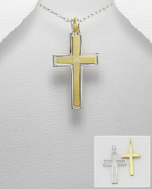50%,OFF,Sterling,Silver,CROSS/SSORC,Vermeil,Necklace,Sterling Silver CROSS/SSORC Vermeil Necklace