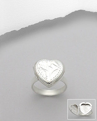 Sterling,Silver,Forever,Heart,Locket,Ring,Sterling Silver Forever Heart Locket Ring