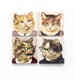 Dress,Up,Cat,Ceramics,Coasters,by,Sass,&,Belle,Dress Up Cat Ceramics Coasters by Sass & Belle