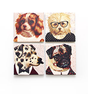 Dress,Up,Dog,Ceramics,Coasters,by,Sass,&,Belle,Dress Up Dog Ceramics Coasters by Sass & Belle