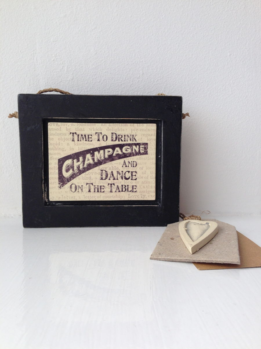 70% OFF Time to Drink Champagne & Dance on the Table Hanging Frame by East Of India - product images  of