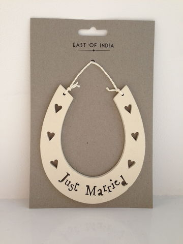 Just,Married,Cream,Wooden,Horseshoe,by,East,of,India,Just Married Cream Wooden Horseshoe by East of India