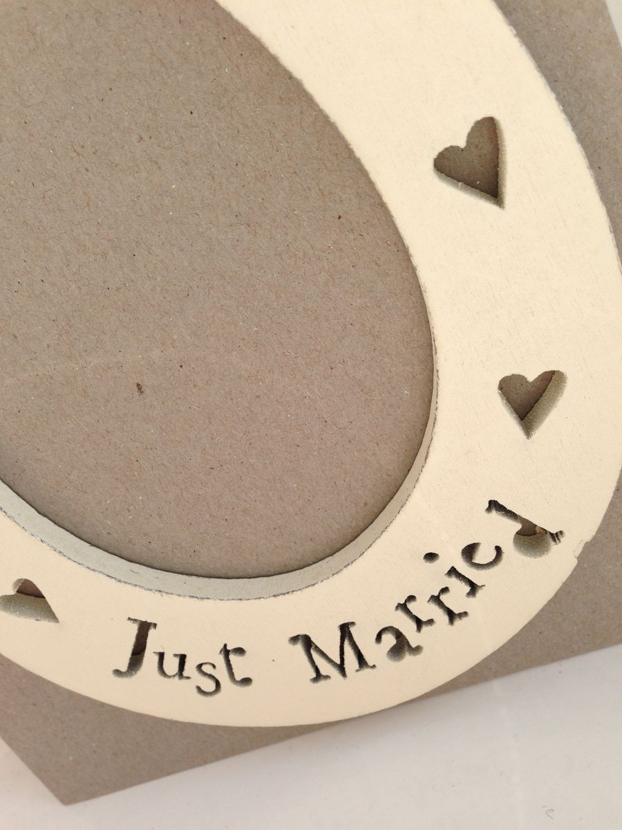 Just Married Cream Wooden Horseshoe by East of India - product images  of