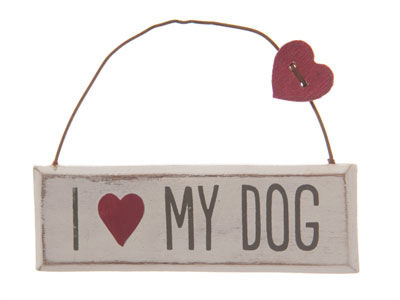 I Love My Dog Hanging Plaque by Sass & Belle - product image